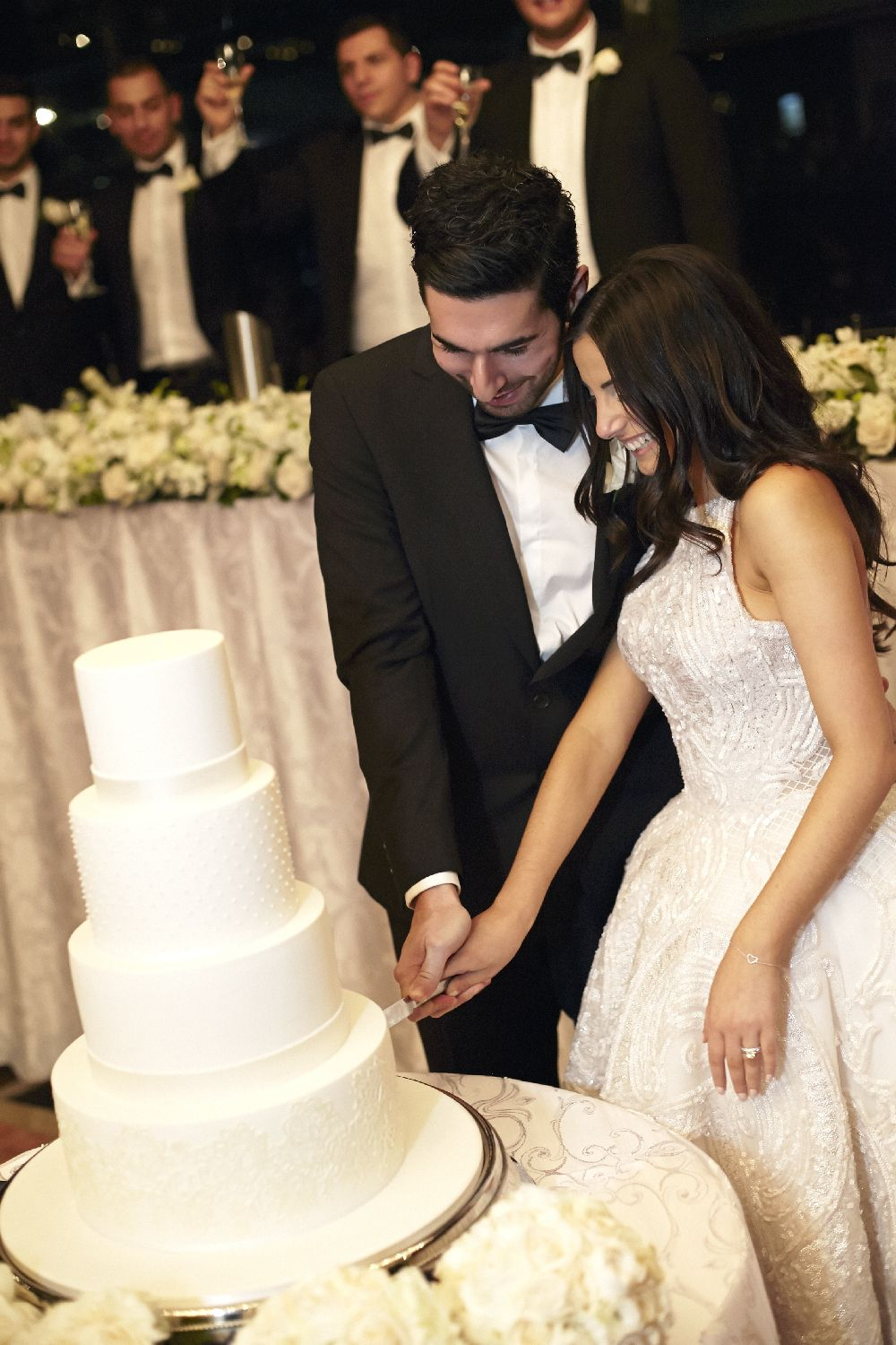 J'Aton wedding dress,Wedding Reception - cutting wedding cake | itakeyou.co.uk