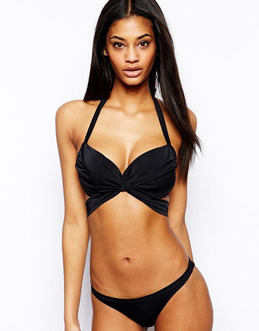 Image 4 Of Asos Fuller Bust Exclusive Cross Front Wrap Bikini Top Dd G Wrap Bikini Top Bikini Tops Black Bikini Tops
