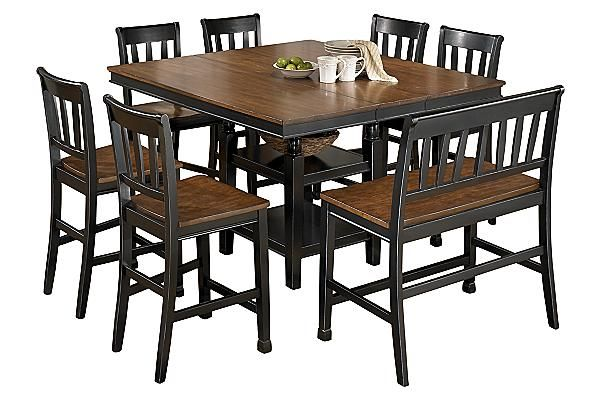 Ashley Owingsville Square Dining Room Counter Extendable Table And Barstools Set