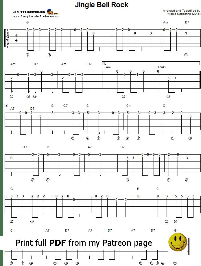 Jingle Bell Rock Easy Guitar Tab Guitarnick Com Guitar Tabs Easy Guitar Easy Guitar Tabs