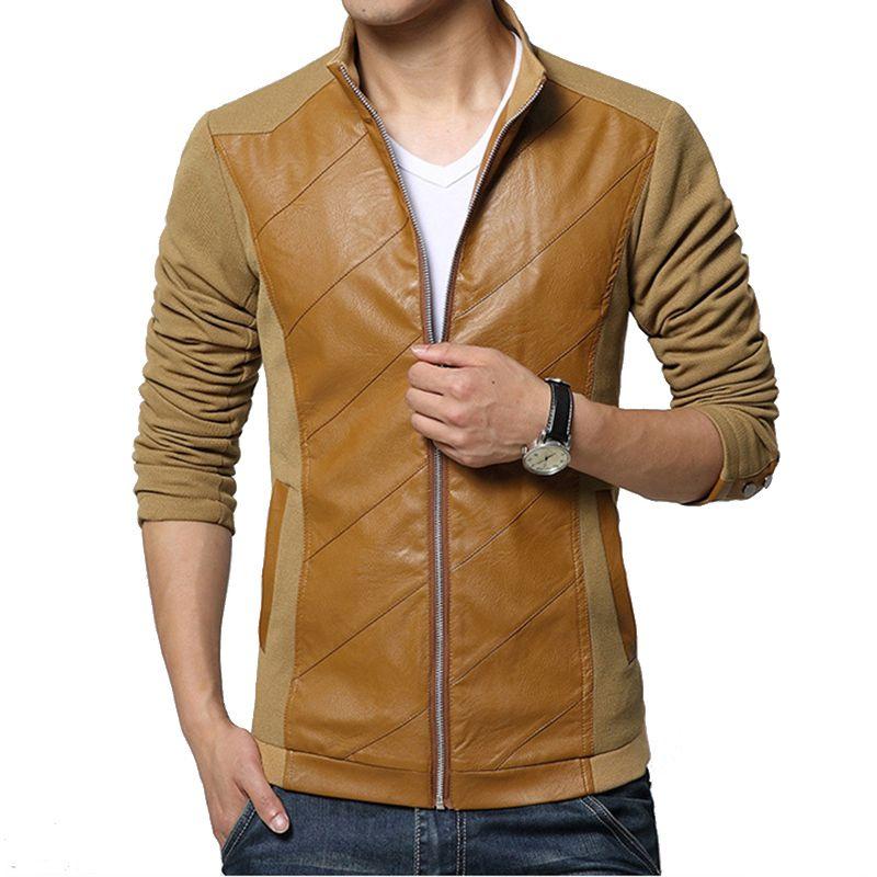 2016 New Fashion Brand Mens Jacket PU Pachwork Korean Slim Fit ...