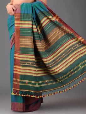 Green-Blue-Multicolor Cotton Bhujodi Handwoven Saree