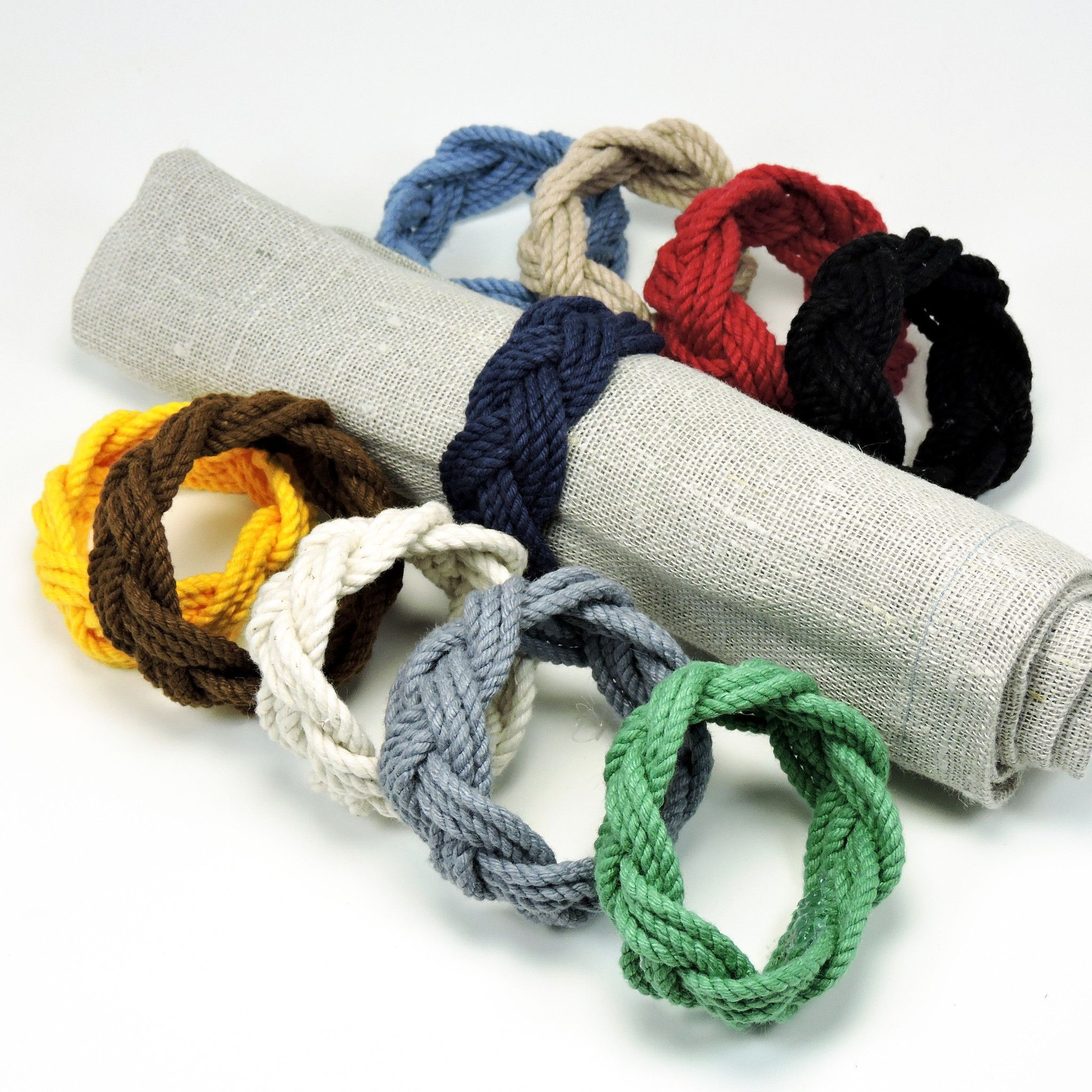 Sailor Knot Napkin Rings Set of Four Woven Turkshead in Cotton