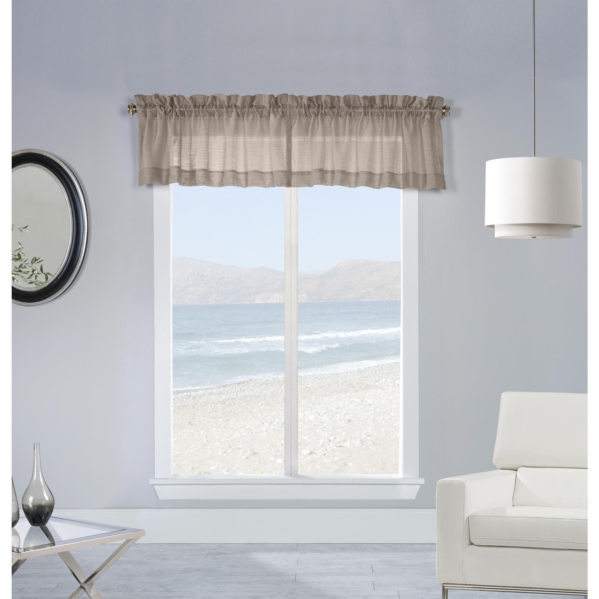 Mist Stripe Textured Semi Sheer Pole Top Window Valance Taupe