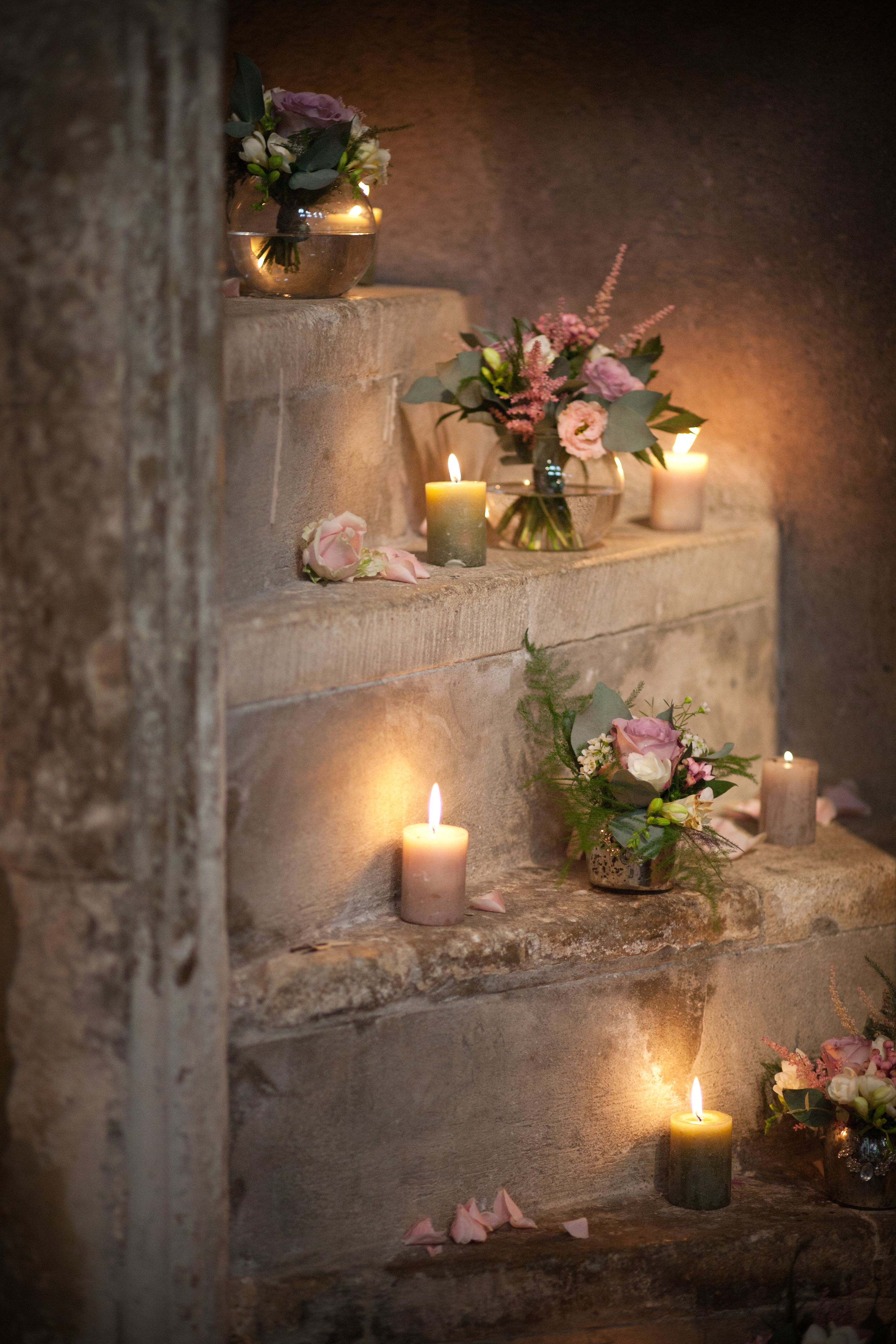 church wedding decorations candles%0A Stairway In Church