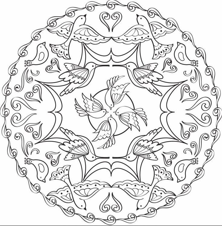 Relax With These Free Printable Coloring Pages For Adults Mandala Coloring Pages Mandala Coloring Bird Coloring Pages