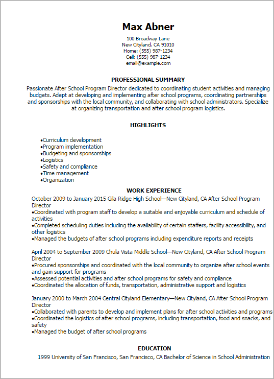 professional after school program director resume templates to showcase your talent myperfectresume - Program Director Resume