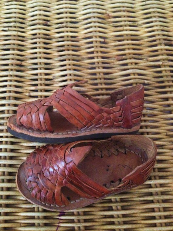 99f58da2bc27 Vintage Caramel Brown Leather MEXICAN HUARACHES Woven Sandals Infant ...