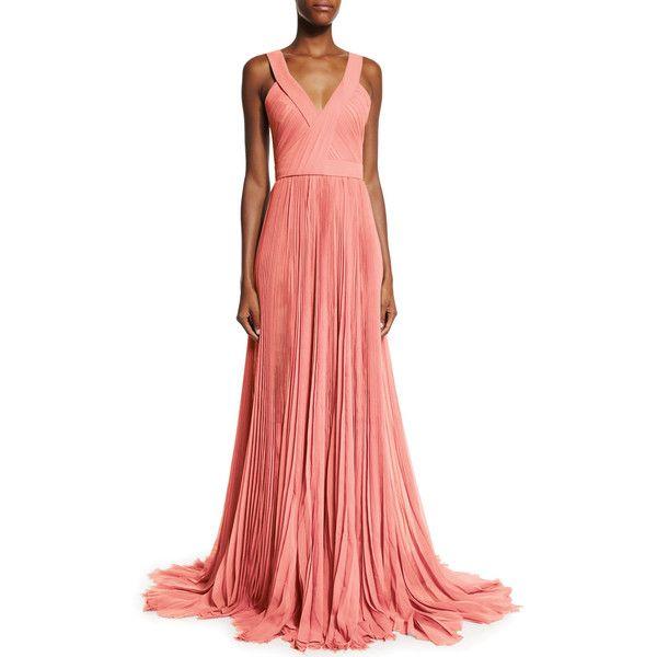 J. Mendel Sleeveless V-Neck Pleated Gown ($5,200) ❤ liked on ...