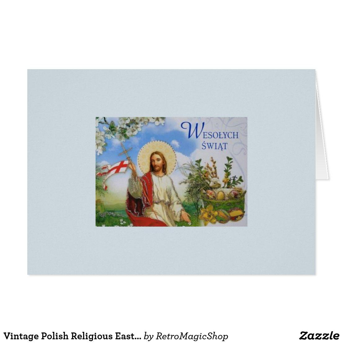 Vintage Polish Religious Easter Greeting Card Vintage