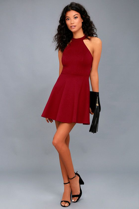 4508112ab4ee Hometown Girl Wine Red Lace Skater Dress in 2019