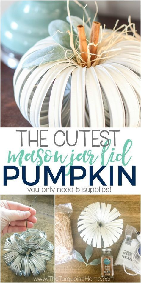 Info's : The cutest little farmhouse mason jar lid pumpkin you ever did see! Am I right? Click here for the full tutorial ... (it's so easy and just 5 supplies!)