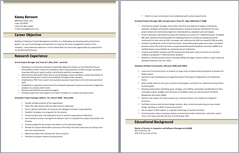 Resume For Project Manager Enterprise Project Management Resume  Resume  Pinterest