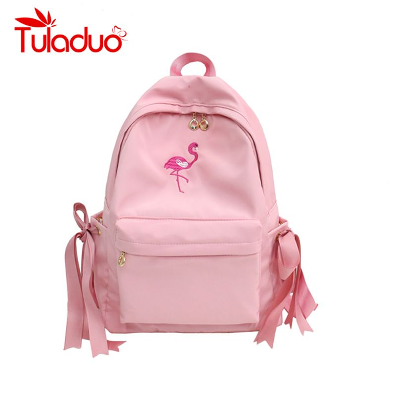3318ad14468e Fashion Flamingos Women Backpacks Pink Bow School Bags for Teenager Girls  Designer Embroidery Laptop Backpack Large Travel Bags
