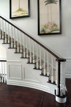 Best Black And White Stair Railing With Mahogany Floors 400 x 300