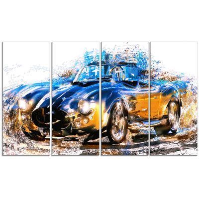 DesignArt Blue and Orange Roadster 4 Piece Graphic Art on Wrapped Canvas Set