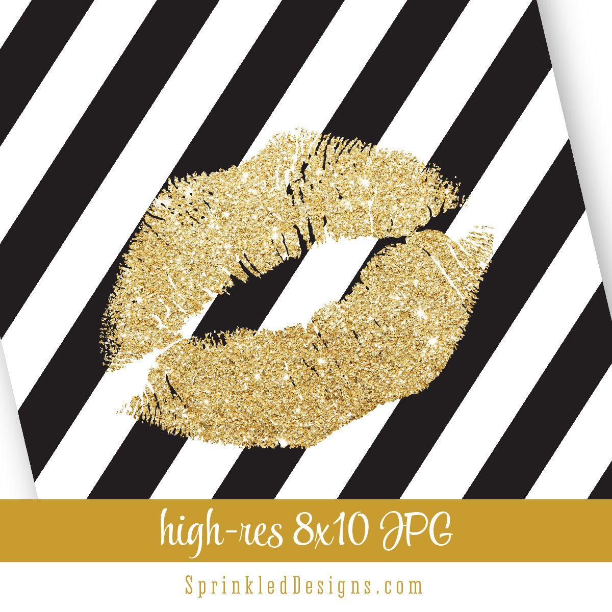 Gold Glitter Kiss Lips Black White Stripes - Bachelorette Party ...