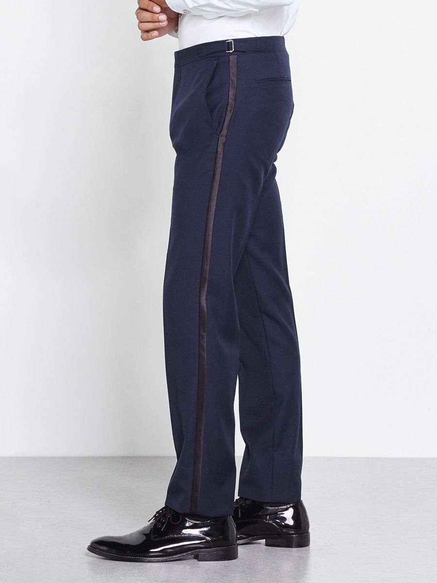 "Our tuxedo pants have waist adjusters up to 2"", but do not have belt"