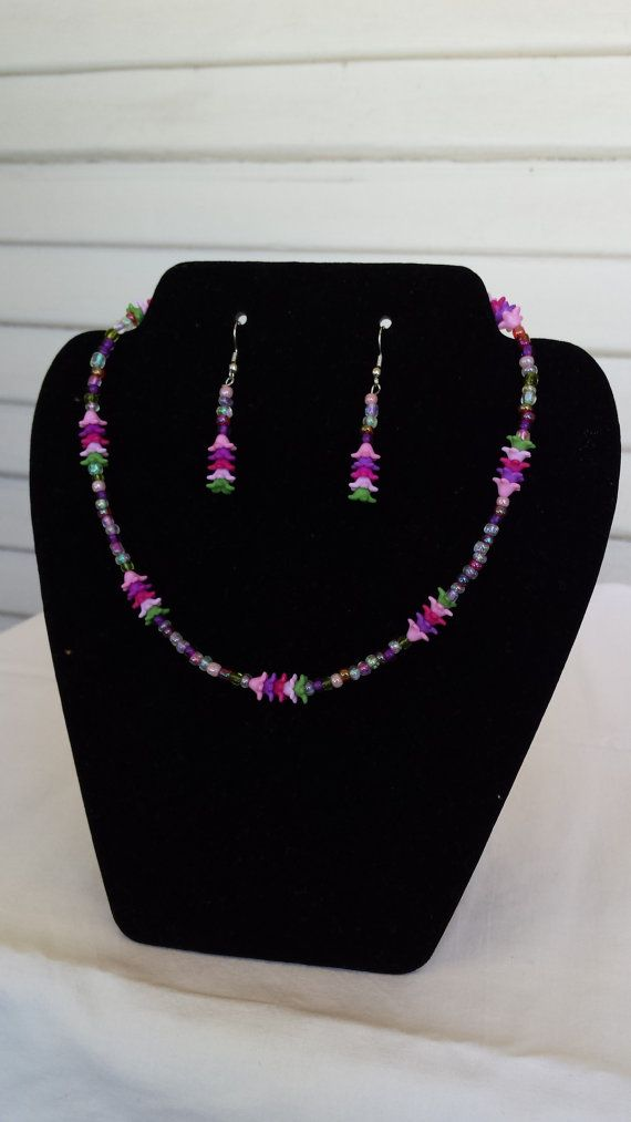 Pink Flower Garden Necklace and Earring set by OneofAKindDezignz