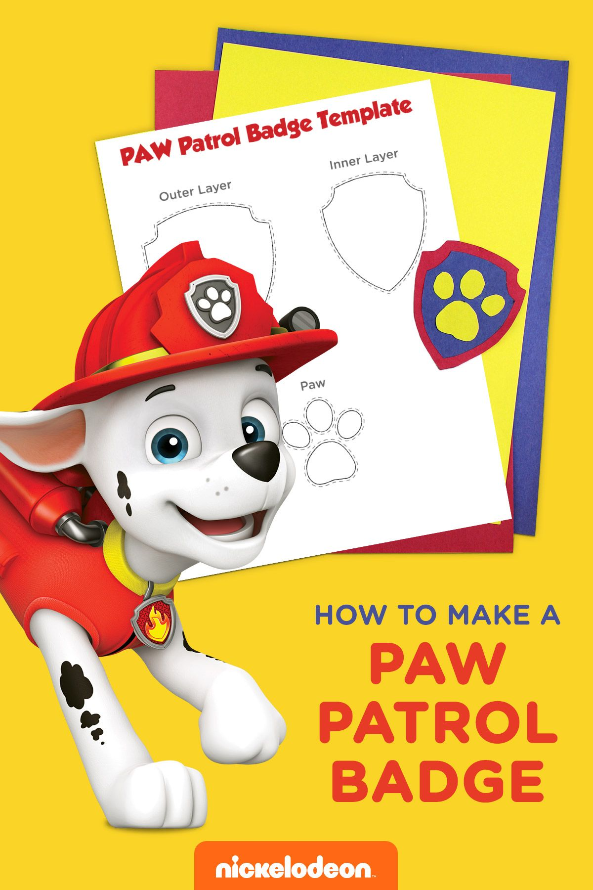It's just a photo of Revered Paw Patrol Badge Template Printable