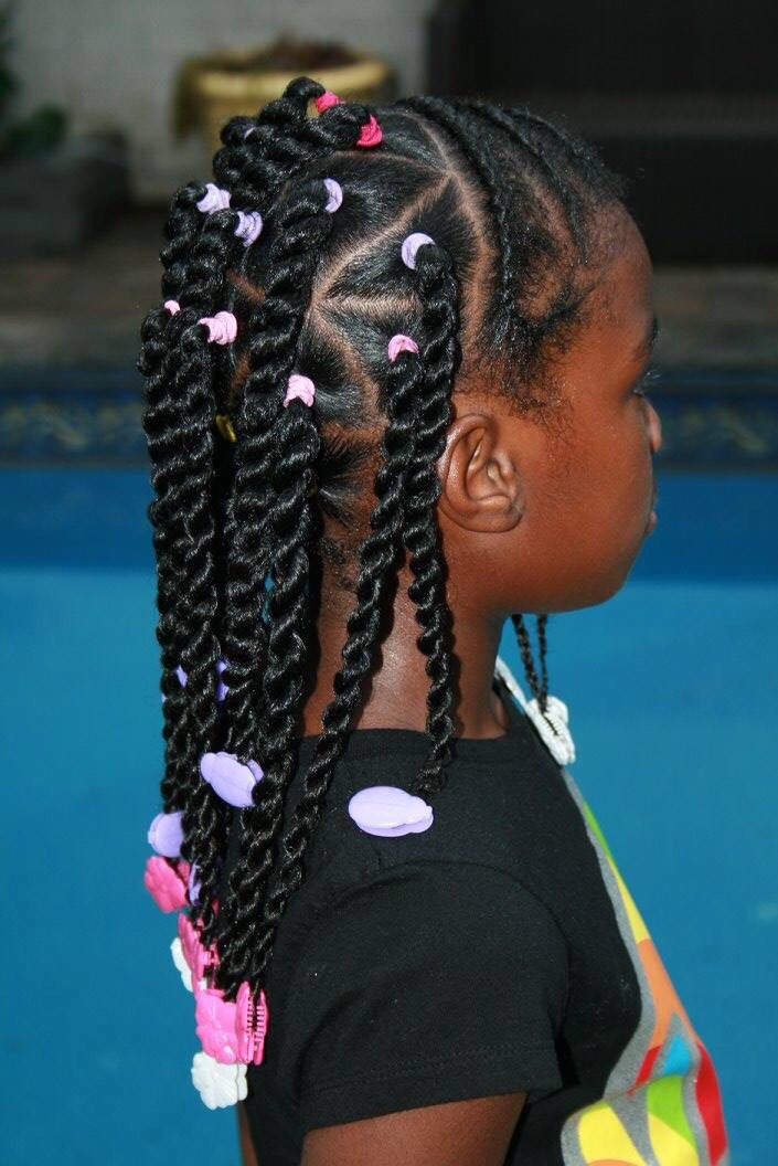 Adorable Braids And Twists With Purple White And Hot Pink Little