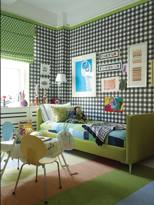 love this blue plaid wallpaper and pops of green. / designed by robert passal.