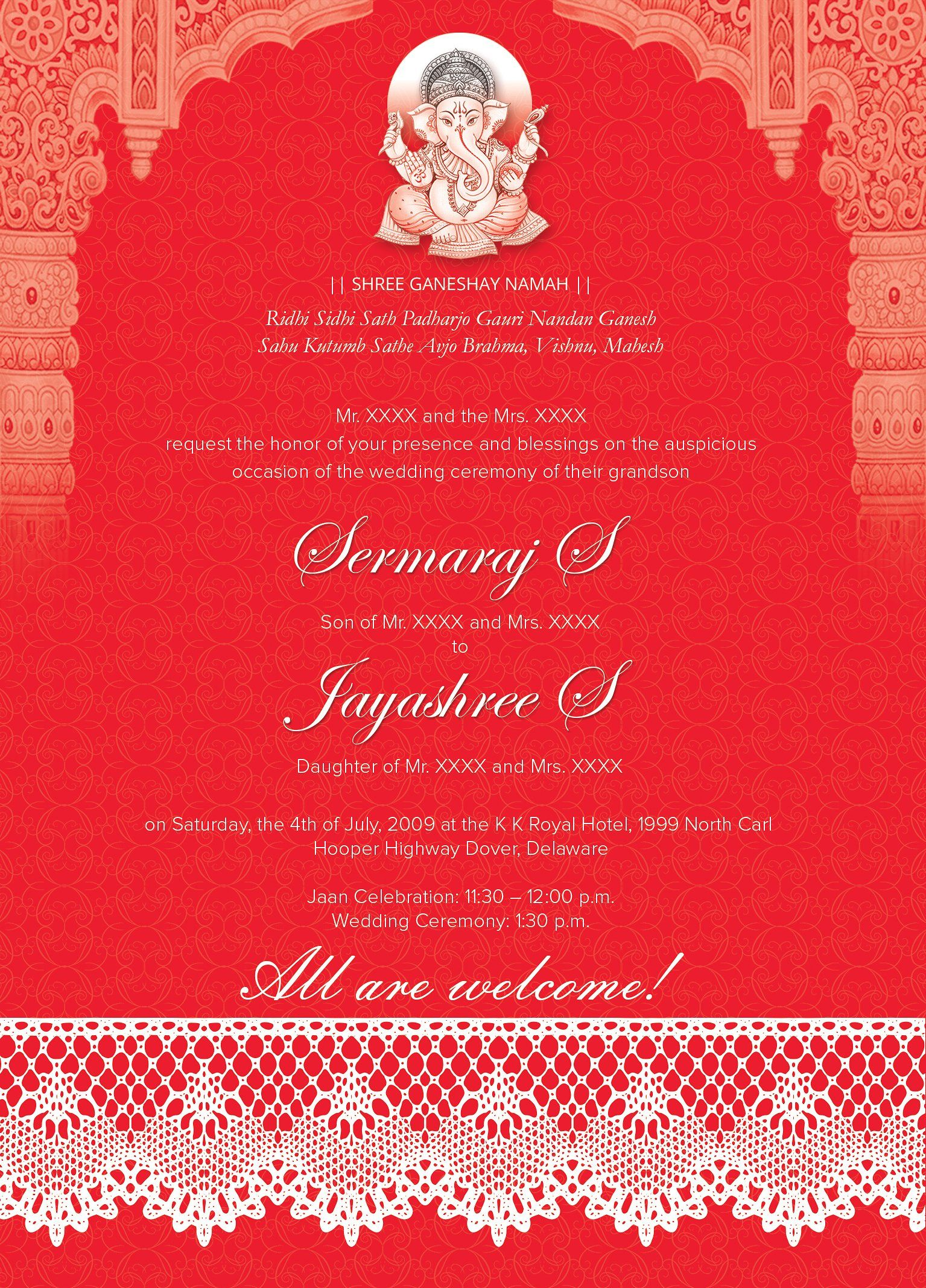 Indian Wedding Card 01 3 colors by Studio Designs on