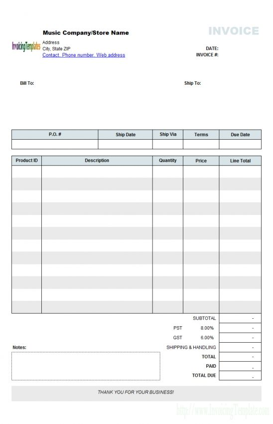 sample invoice template australia