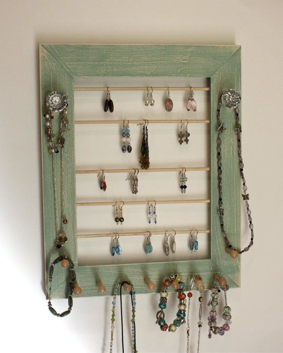 Wall Mount Jewelry Holder Organizer Rustic Style Wood Frame in