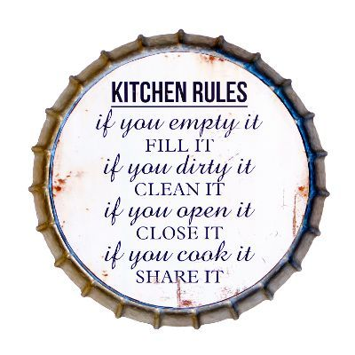 Distressed Gray Metal Bottle Cap Kitchen Rules Sign #kitchenrules