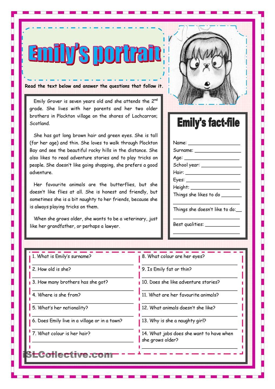 Emilys portrait - Adjectives describing people | Esl | Pinterest ...