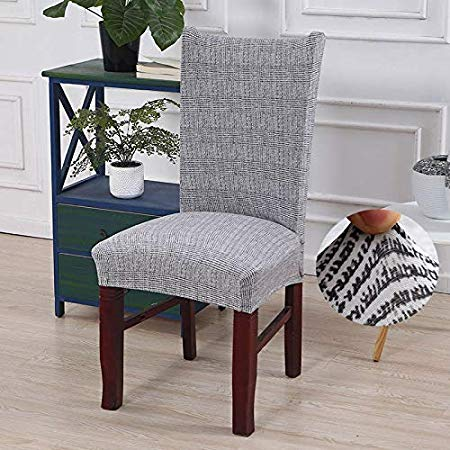 Amazon Com Wanna Stripped Cross Pattern Chair Covers Spandex Dining Room Stretch Seat Cover Chair Seat Covers For Chairs Slipcovers For Chairs Patterned Chair
