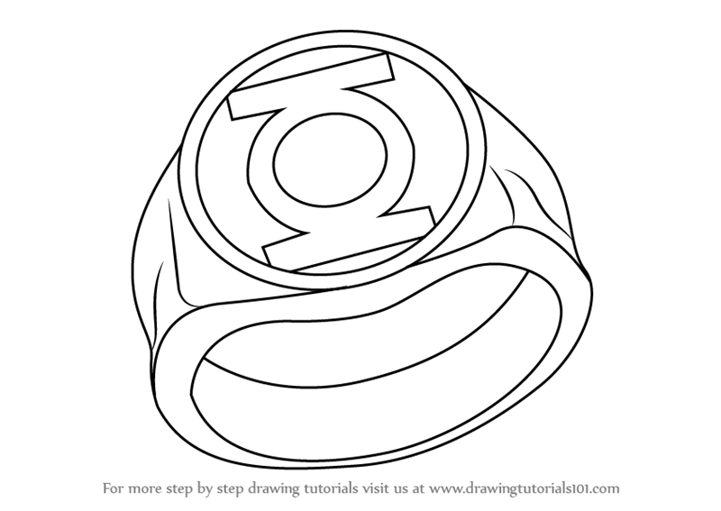 Learn How To Draw Green Lantern Ring Step By Within Logo Outline Green Lantern Ring Logo Outline Green Lantern