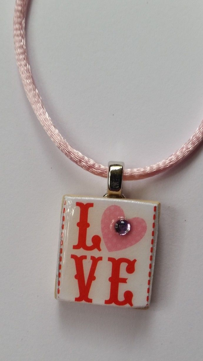 Love scrabble tile necklace love scrabble tile necklace by sassykat 2500 cad aloadofball Choice Image