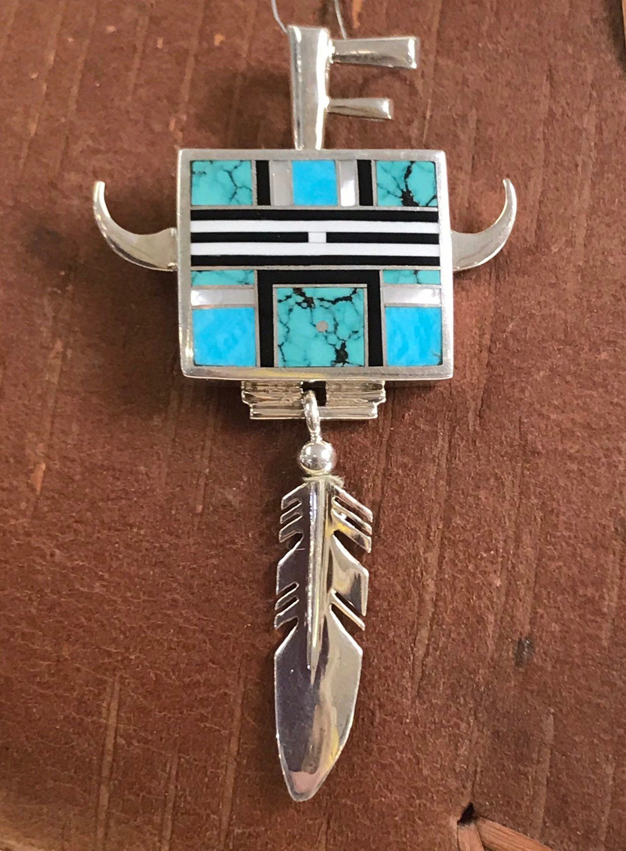 Ray Tracey, Navajo Pendant with Turquoise, Black Jet