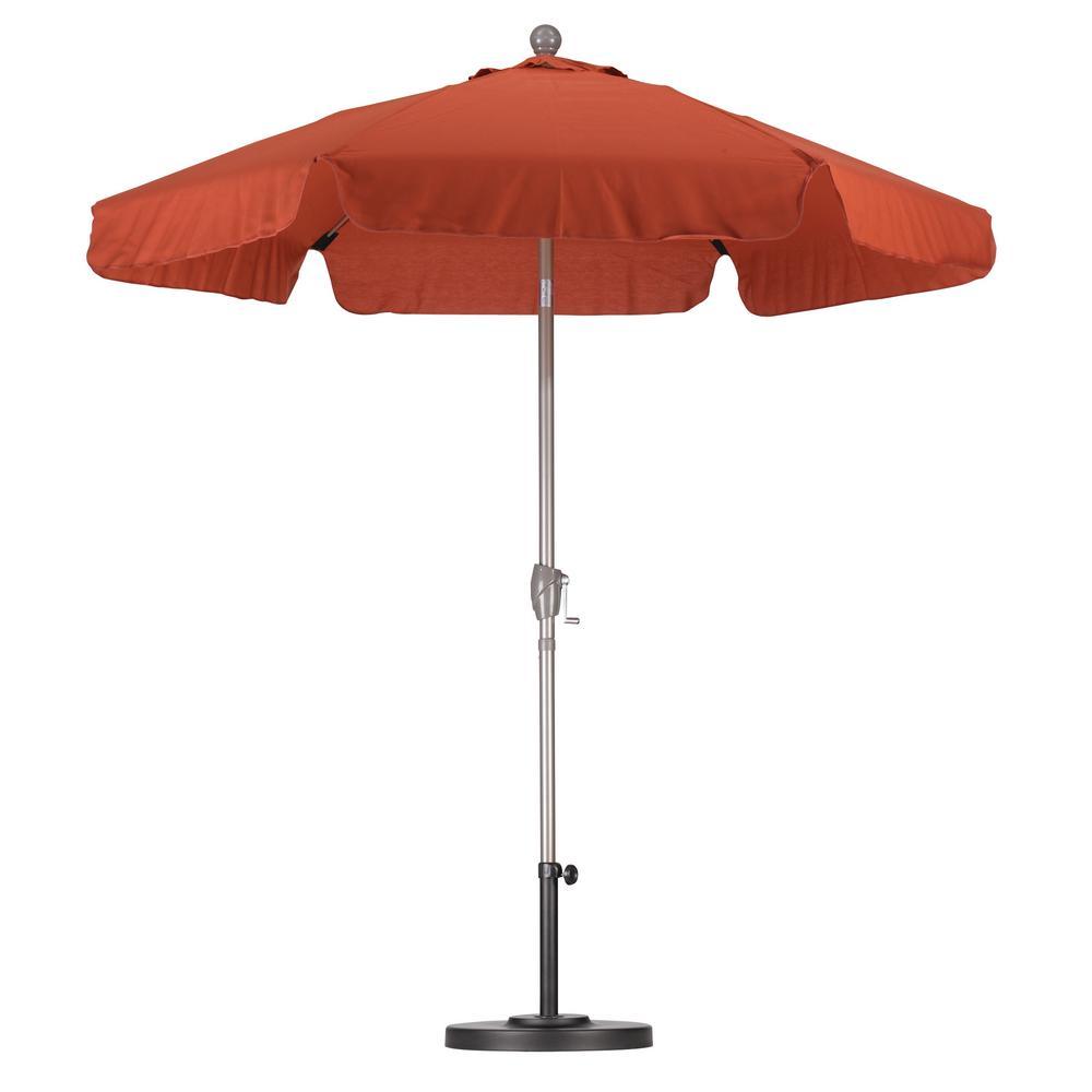 California Umbrella 7 1 2 Ft Fiberglass Push Tilt Patio Umbrella In