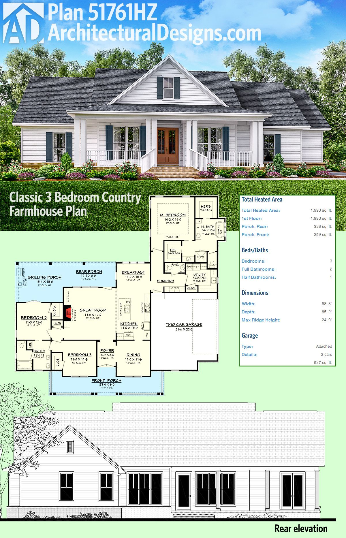 Plan 51761HZ: Classic 3 Bed Country Farmhouse Plan | Pinterest ...