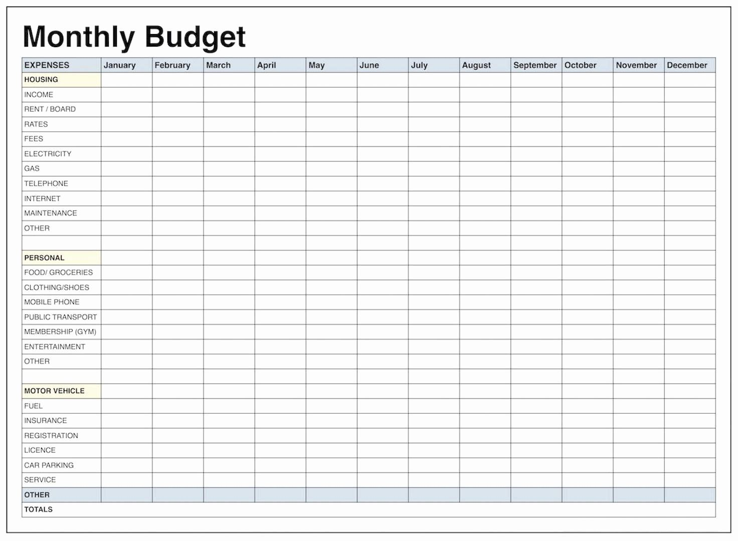 Free Household Budget Worksheet Awesome Blank Monthly