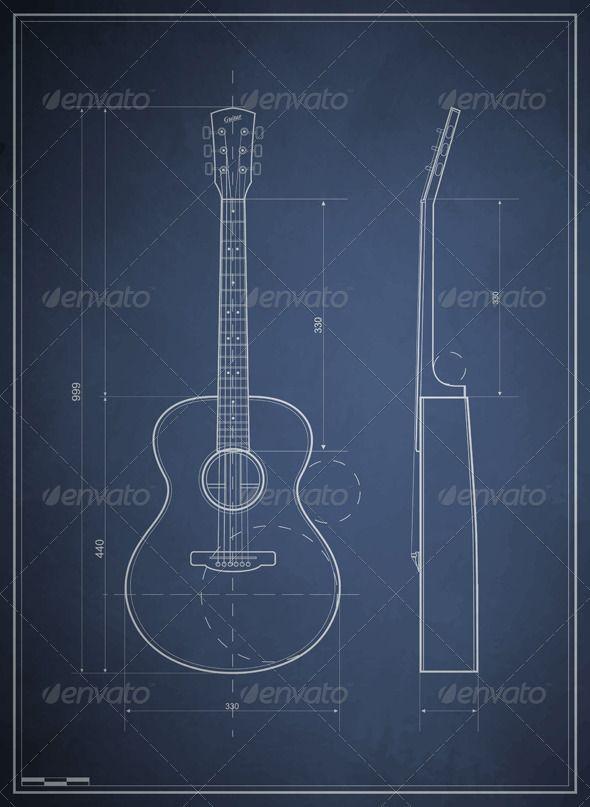 Blueprint Drawing Six Acoustic Guitar Blueprint Drawing Blueprints Blueprint Art