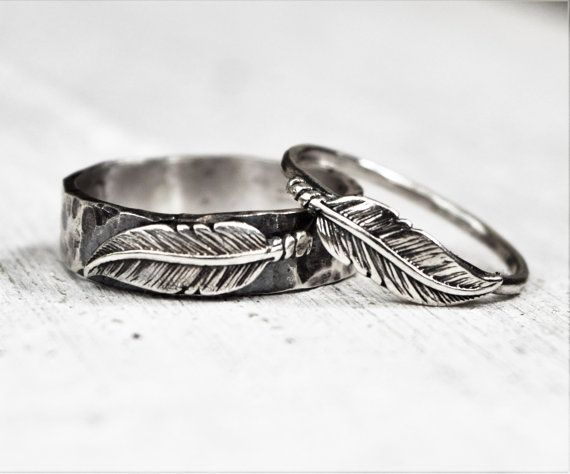 Hammered Sterling Silver Feather Ring Pair, His & Hers Wedding Bands ...
