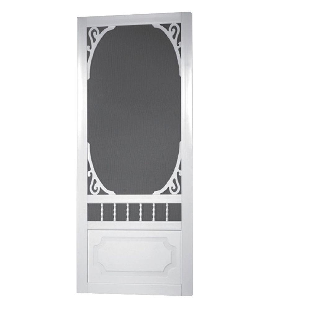 solid doors home depot. Belle Harbour Solid Vinyl White Screen Door Tight 36 in  x 80