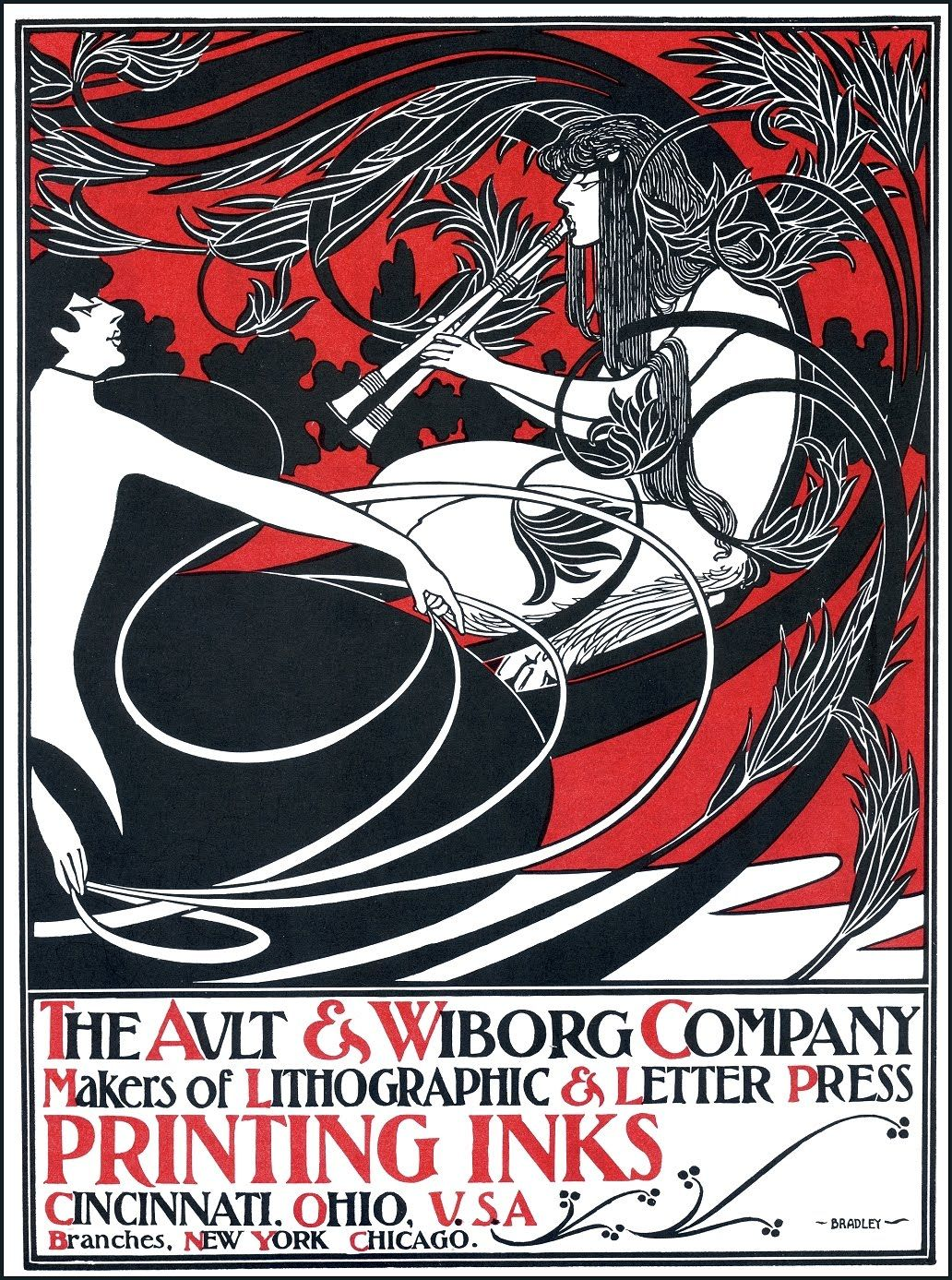 Original Antique Art Nouveau Printers Ink Advertising Prints For Sale The Ault Wiborg Company Poster WIlliam H Bradley 1900
