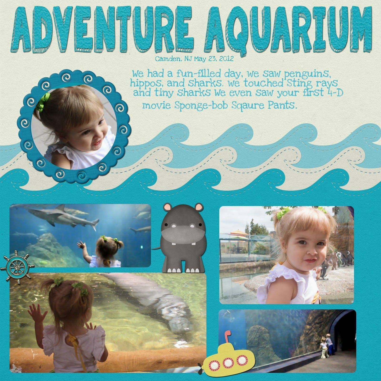 Aquarium Scrapbook Page at the Adventure Aquarium in camden NJe