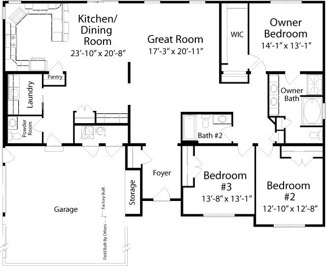 Manchester (Ranch) Floorplan Of Classic Collection   Modular Home   All American  Homes