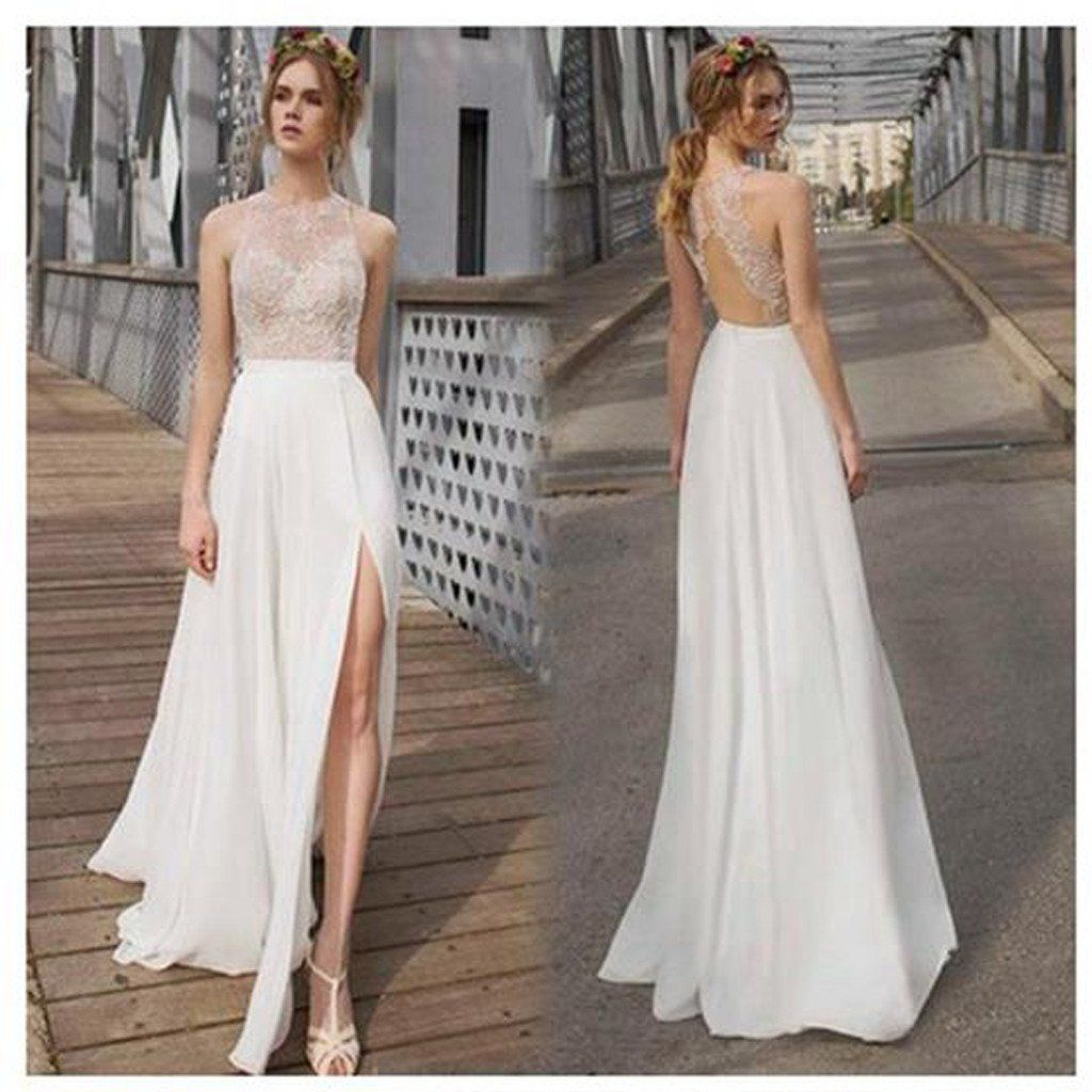 Simple white wedding dresses  Beautiful White Side Split Prom Dress Open Back Charming Bridesmaid