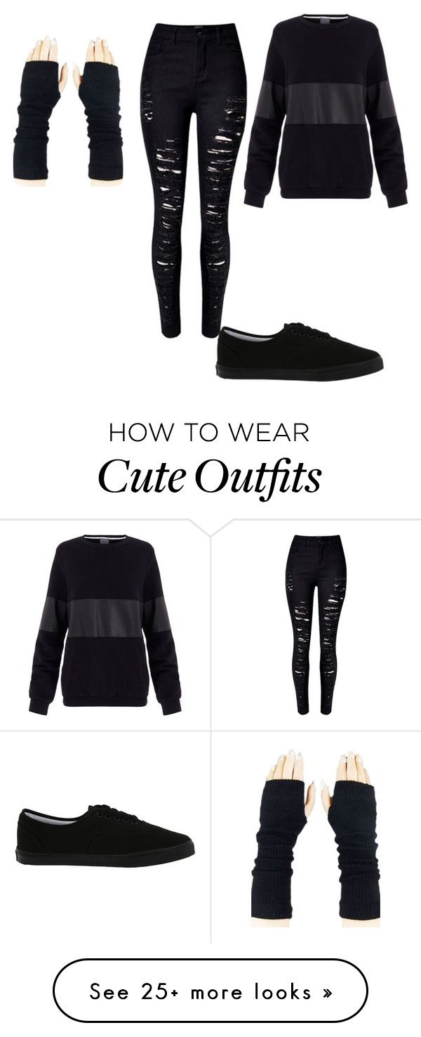 """""""Black outfit"""" by chemical-clifford on Polyvore featuring Vans, Lot78, women's clothing, women, female, woman, misses and juniors"""