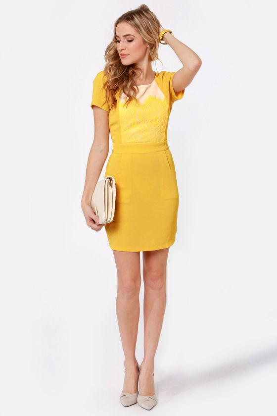 541fee1d249 Sweet Yellow Dress - Backless Dress - Lace Dress -  64.00