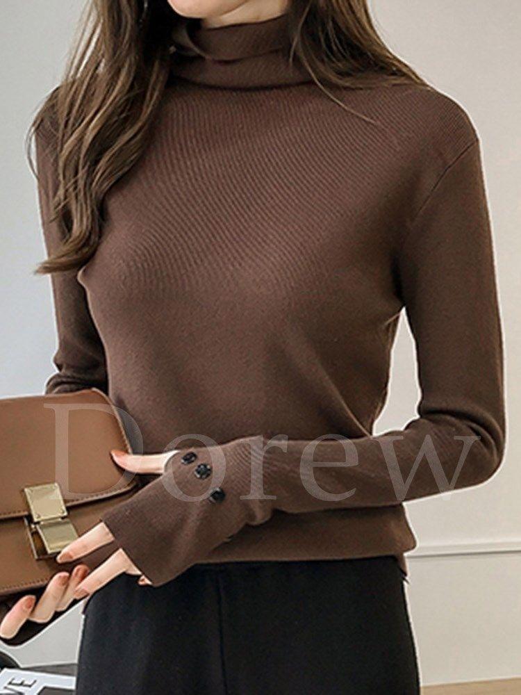 dfb60d650a1d ファッション通販 #Fashion Tha T xiaov Dorew細身ニットウェアハイネック着痩せレディースファッション