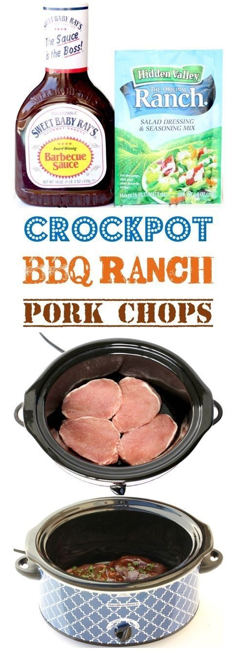 BBQ Ranch Pork Chops Crock Pot #easycrockpotchicken