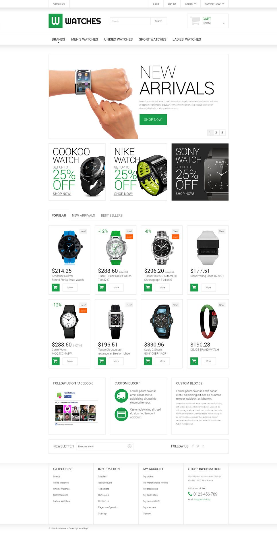Watches Shop Prestashop Theme 51184 Web Design Software Web